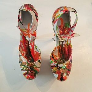 GASOLINE GLAMOUR Shoes - HAND PAINTED WHITE LEATHER PLATFORM PUMPS